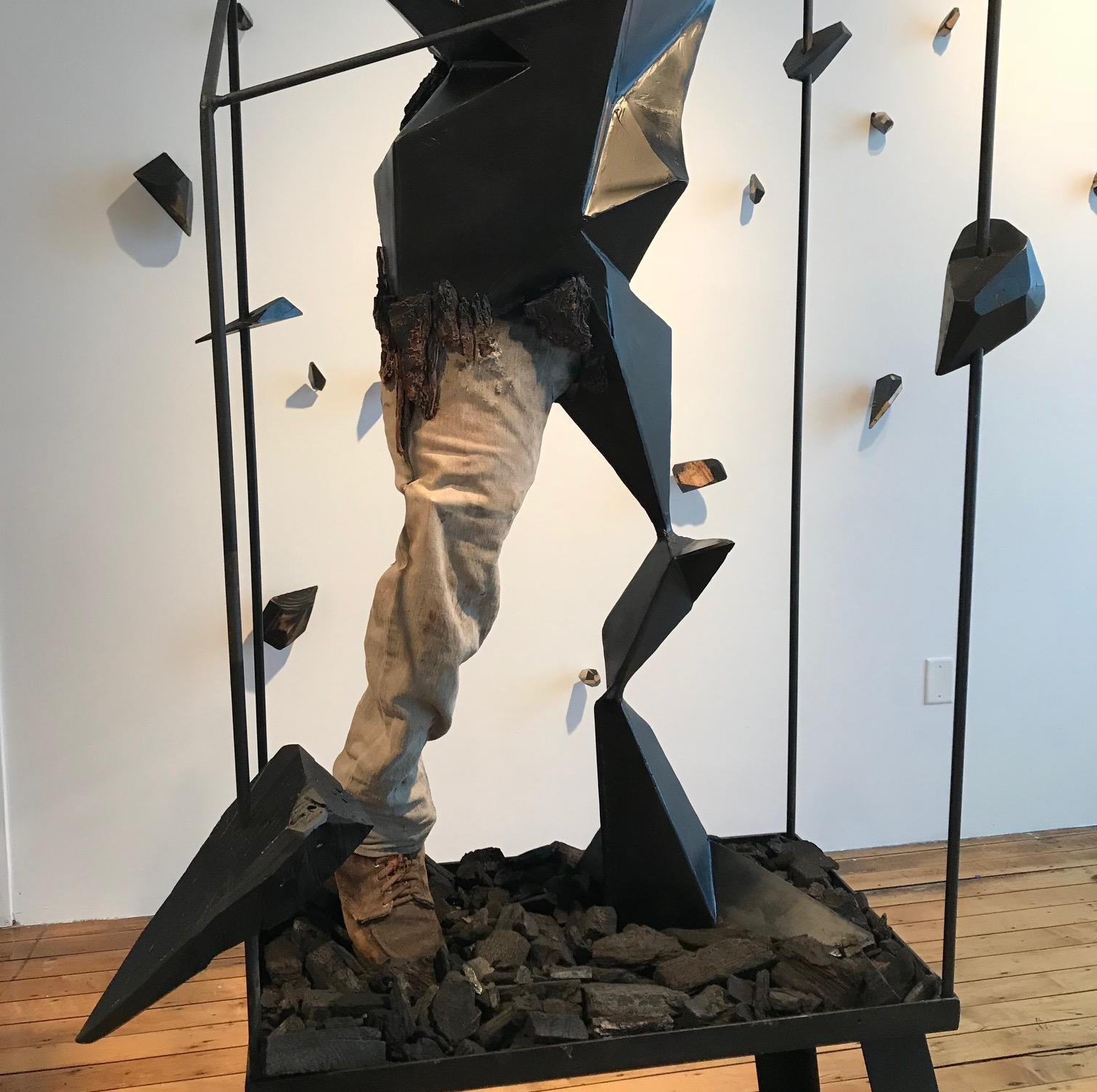Carey Morton,  Transfiguration  (detail), 2018, steel, wood, charcoal, dimensions vary