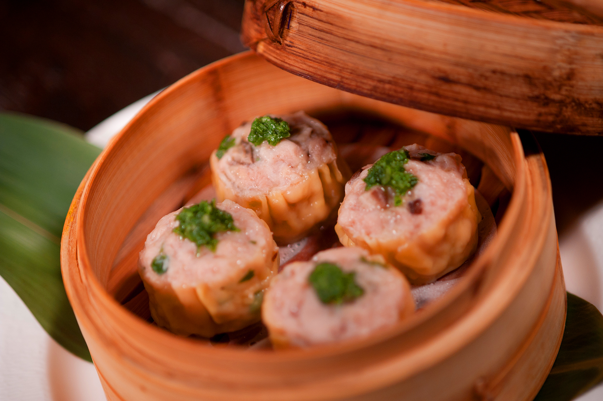 Shumai in wood dish
