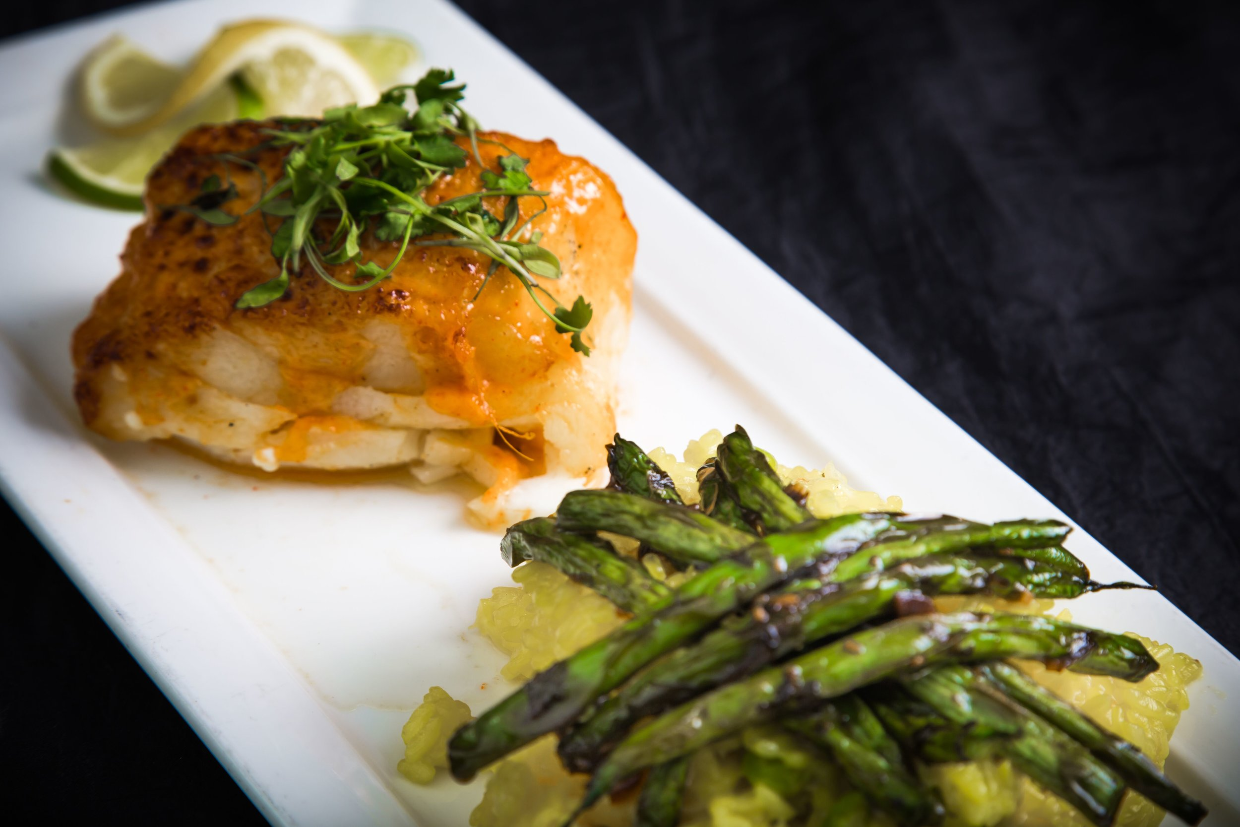 Asparagus and crab cake