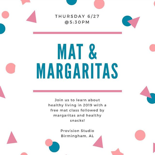 Join @simplystuu for a FREE Pilates Mat class this Thursday at 5:30pm in the studio! Link in bio to reserve your spot for an awesome workout and some margs ✨
