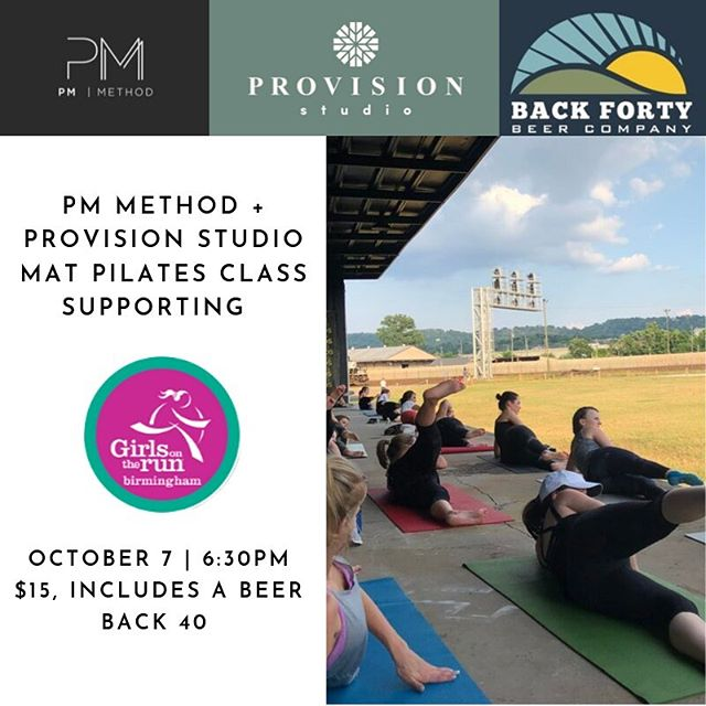 We are so excited to be partnering with @pmmethod to bring you a Mat Pilates Class at @back40bham . This Monday, October 7th at 6:30pm, come support @gotrbham! Tickets are $15 (includes a beer) and can be purchase via the link in bio or at the event. Proceeds will be going to @gotrbham.  Hope to see you there!