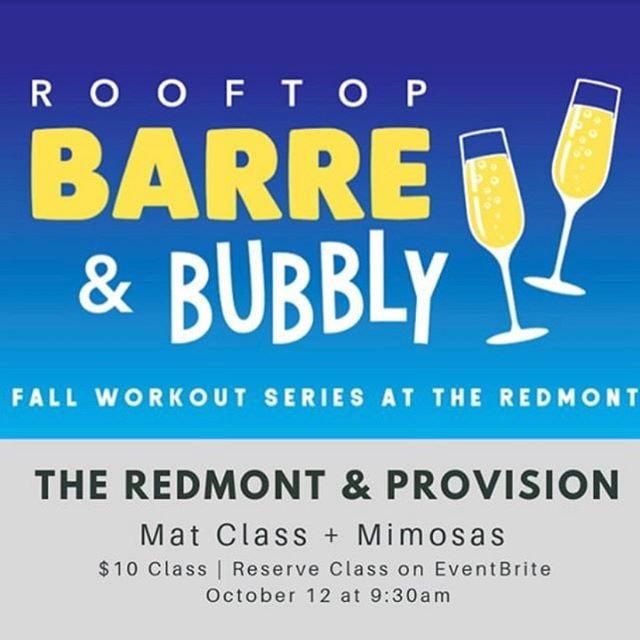 We are so excited for the Mat Pilates class on the Redmont Rooftop! Limited spots available - reserve your spot via the link in our bio. $10 for the mat class and a mimosa after. Hope to see you there!