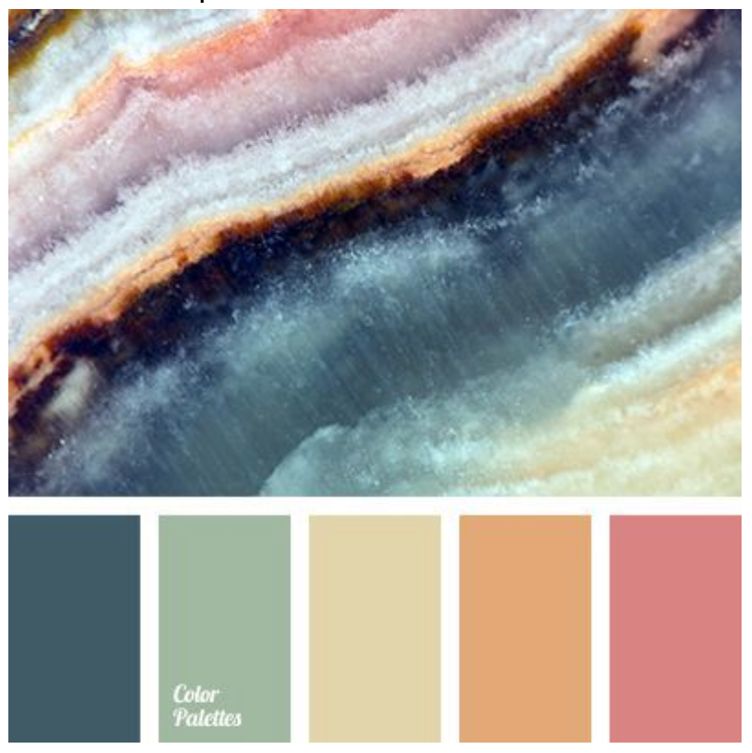 THE INSPIRATION - The goal was to find a few paints that could be used for an artwork that centered around these five colors.
