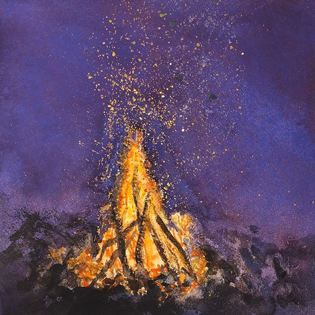 Fantasizing about a crackling bonfire on a cool fall night. 🔥🍂 ⠀⠀⠀⠀⠀⠀⠀⠀⠀⠀⠀⠀ 🎨 Limn Colors ultramarine blue, pyrrole orange, metallic gold, iso yellow, benzimida yellow, titanium white, magnetite, burnt umber 📜 @Arches.Art 140 lb cold press block 🖌  @WinsorAndNewton series 7 rounds and #Isabey mop ⠀⠀⠀⠀⠀⠀⠀⠀⠀⠀⠀⠀ #LimnColors #HandmadeWatercolor #WatercolorPainting #WatercolorPaint #painting #HandmadeWatercolors #ArtisanalWatercolors #BoutiqueWatercolors #HandmulledPaint