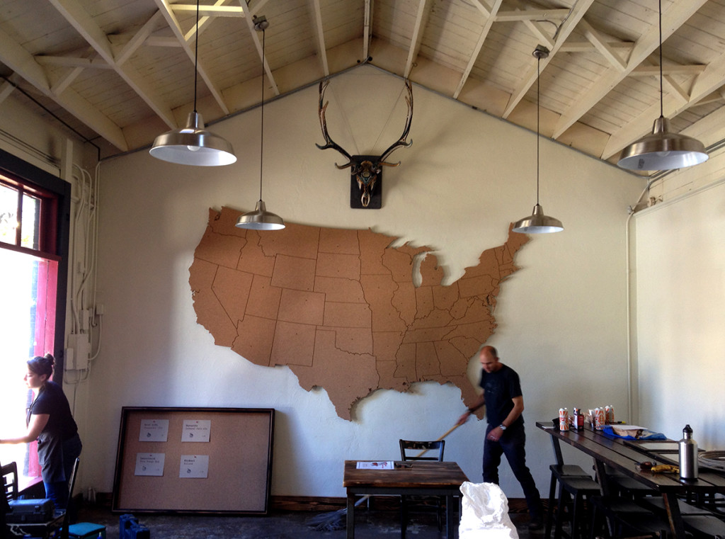 One of our early jobs allowed the opportunity to make a giant map for some dear friends — Homestate BBQ in Ashland, Oregon. Ashland sees a tremendous amount of tourism, and while musing on the future business the idea of having a map upon which people could pin their 'home state' emerged… We grabbed that idea and blew it up large, fabricating (and installing) a 12′ x 9′ cork map. Many thanks to the large bed CNC Router. More soon…