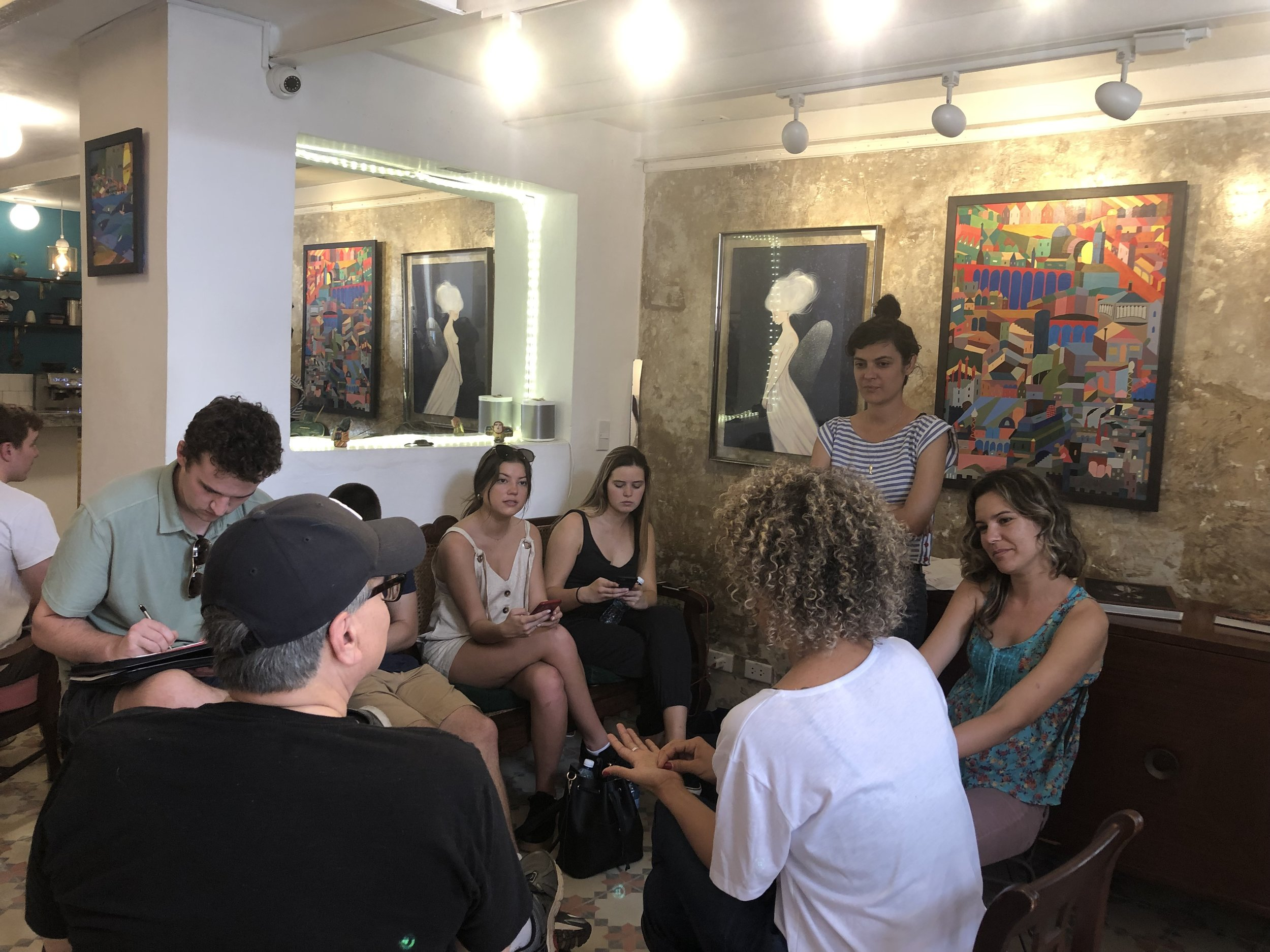 IU Kelley students meet with Ilse Anton, Raquel Janero and Lauren Fajardo, the founders of Dador, a new concept store in Old Havana.