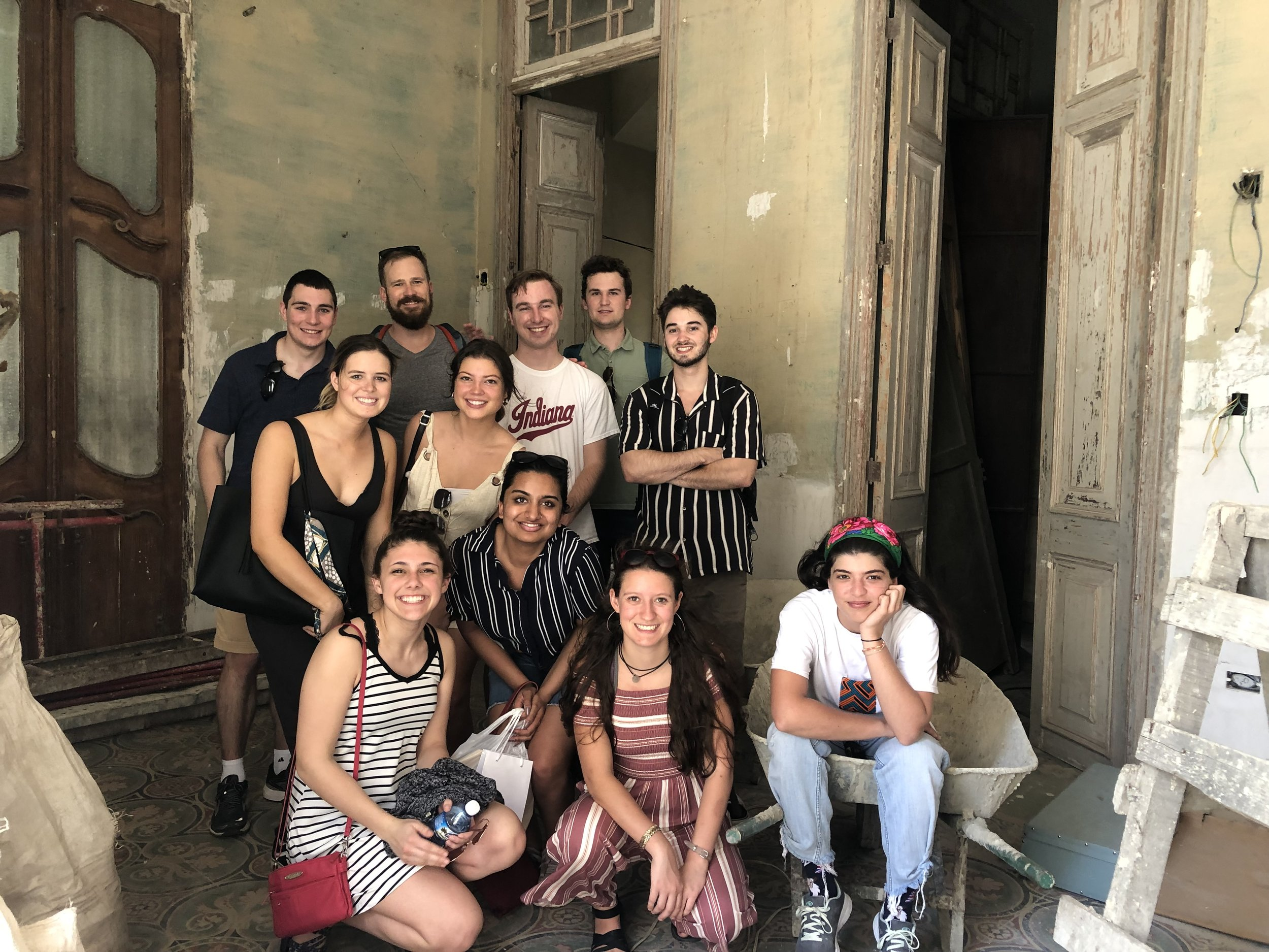 IU Kelley students meet with Laila Chaaban during the renovation of her clothing store, Capicua. It's now open on San Lazaro esq Carceles.
