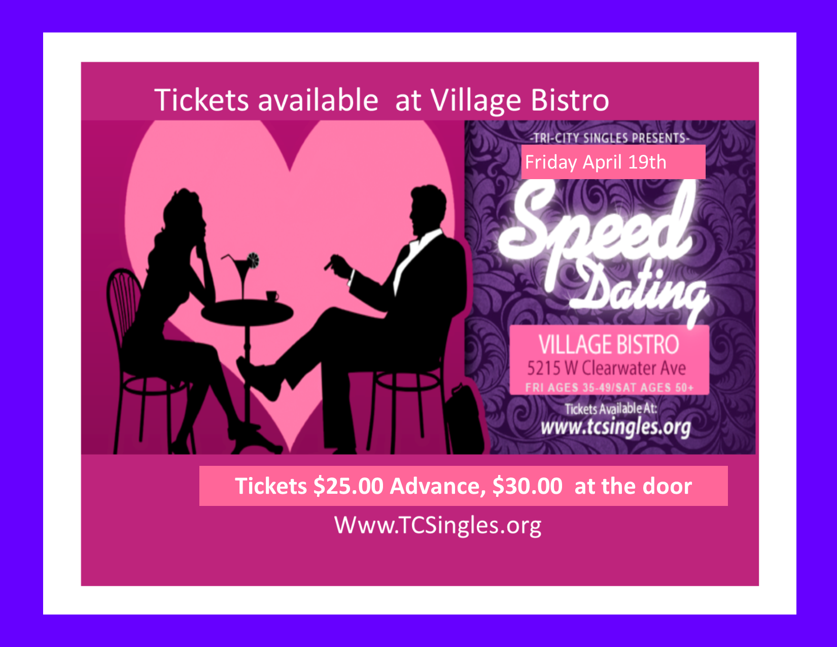 Speed Dating - Guess what we are doing another awesome speed dating event. Ages 30-44 and 45-55. This event will be both age groups. We will be starting at 7:30pm ending time is TBD. Tickets are on sale now! Advance tickets will be $25 and $30 at the door. Bring some single friends and have an awesome time while having a few cocktails and mingling. Let us help you find that perfect connection..