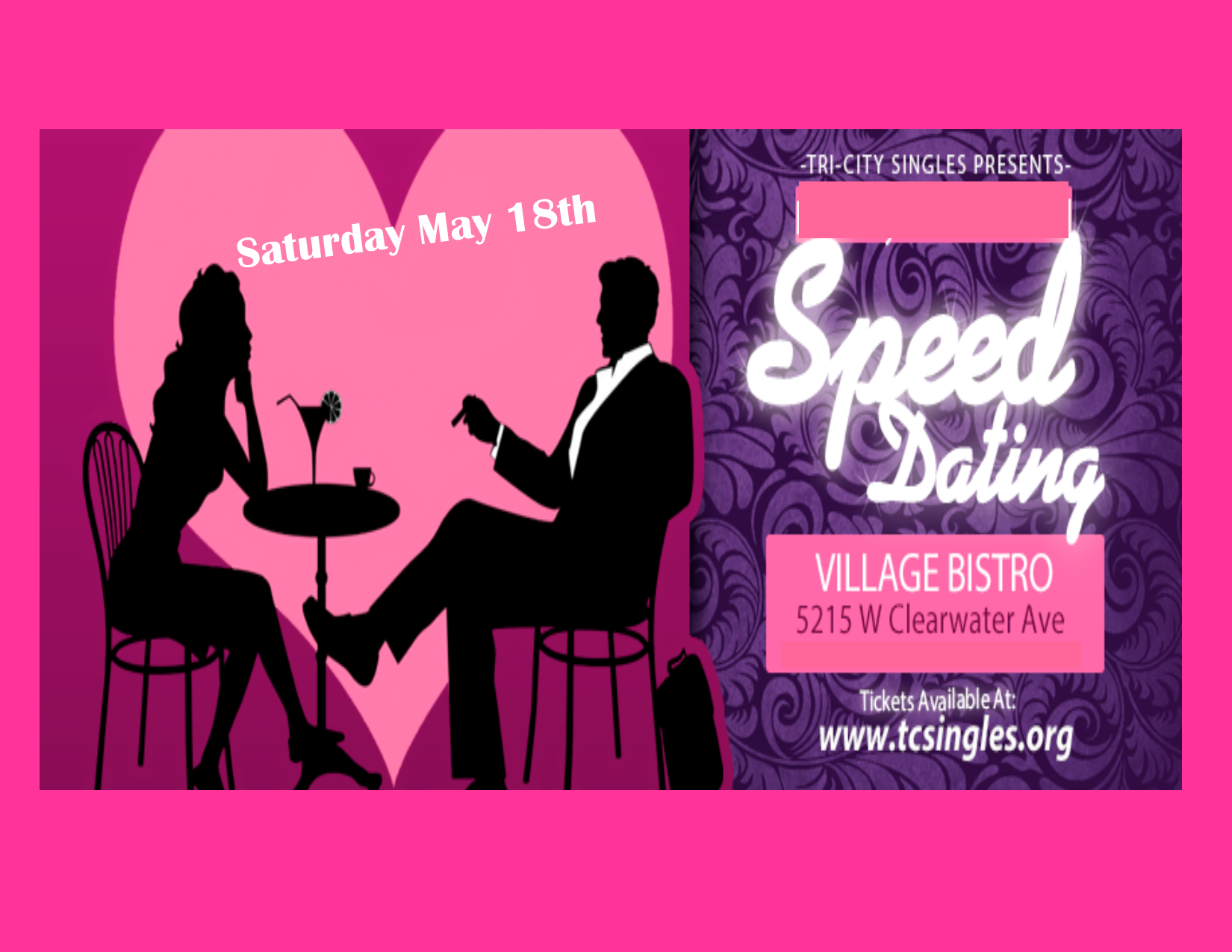"""Speed Dating - Join us for a fast paced evening of meeting other singles. You just may meet """"the one""""."""