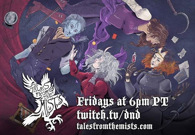Season 2 of TALES FROM THE MISTS begins this Friday, 6 p.m. PT, twitch.tv/DnD. I can't wait to see what this season holds for us! See you in zee Mists! 🌫️ Art by the wonderful @kayncli! #dnd #actualplay #TalesFromTheMists