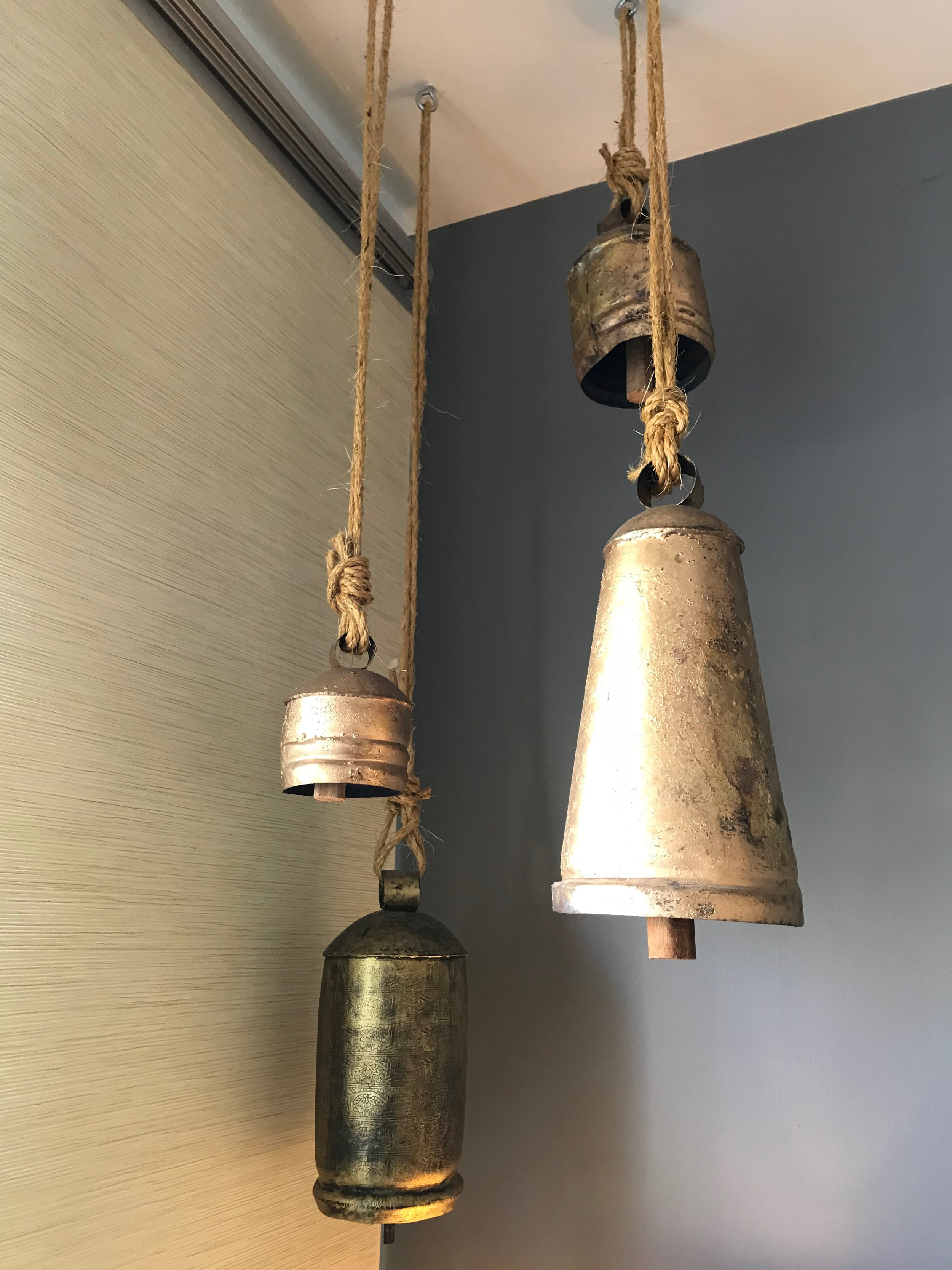 Meditative bells hanging in the office