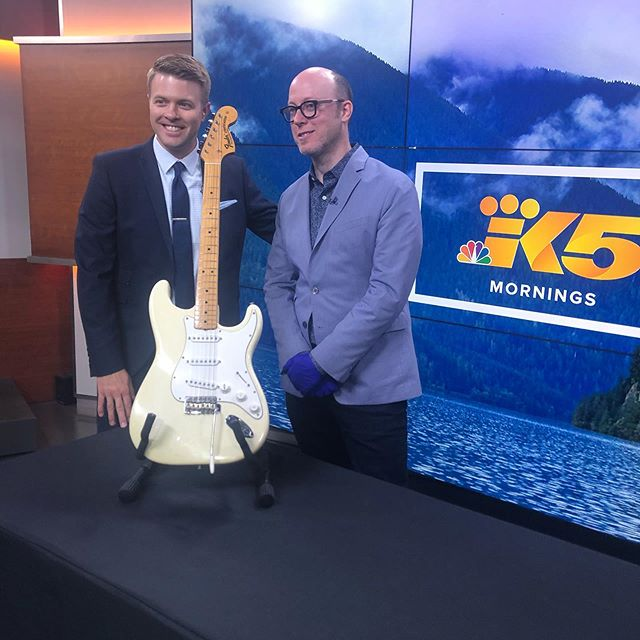"THE guitar #JimiHendrix played ""The Star Spangled Banner"" on at Woodstock. Client @mopopseattle celebrates the 50th Anniversary of Woodstock all weekend long. Thanks for having us @king5seattle and @king5evening 🙌 🎸"