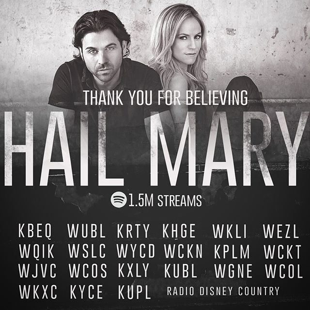 "So excited to have ""Hail Mary"" playing on all of these stations! THANK YOU for believing!! #HailMary"