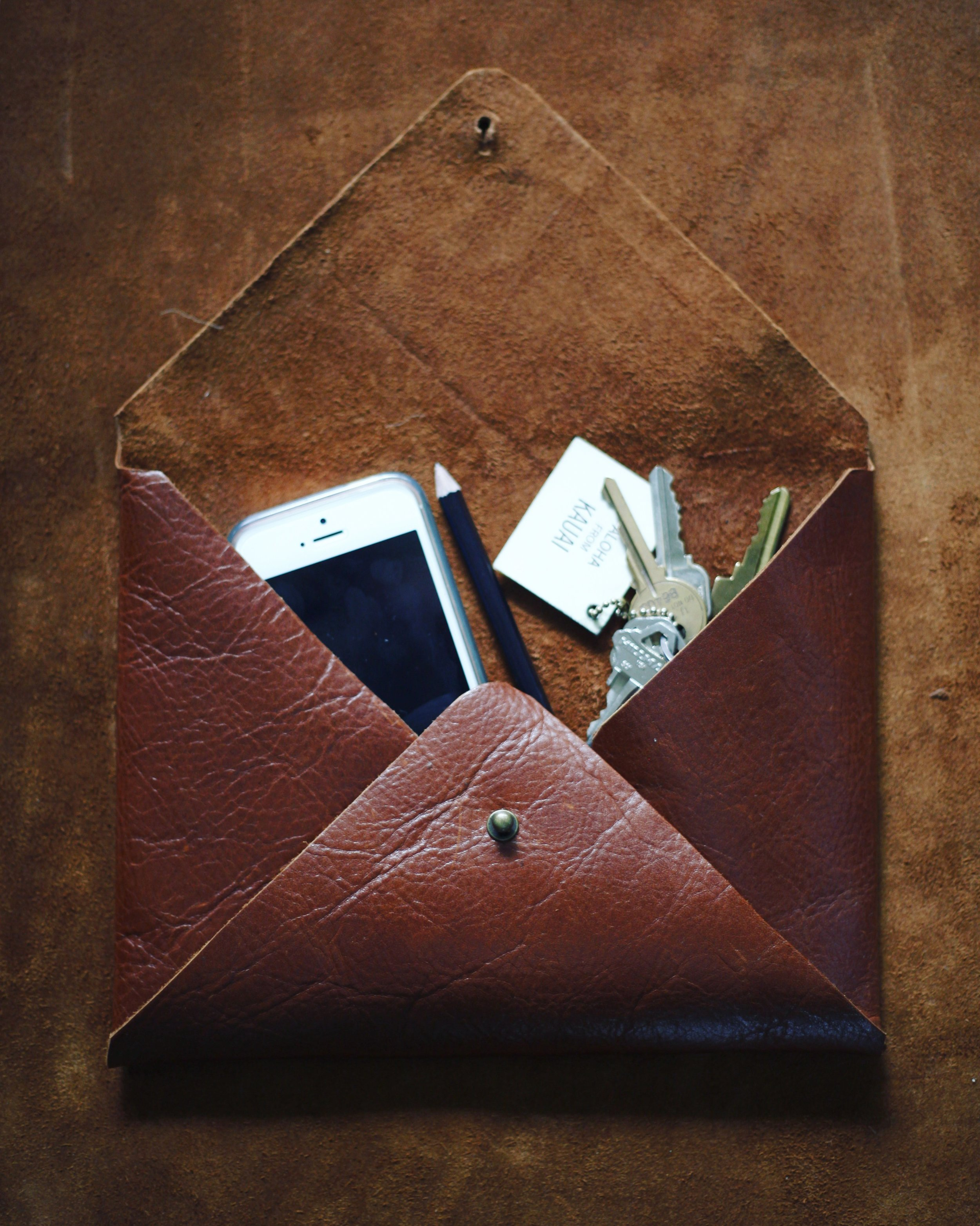 Leather Envelope Clutch $50