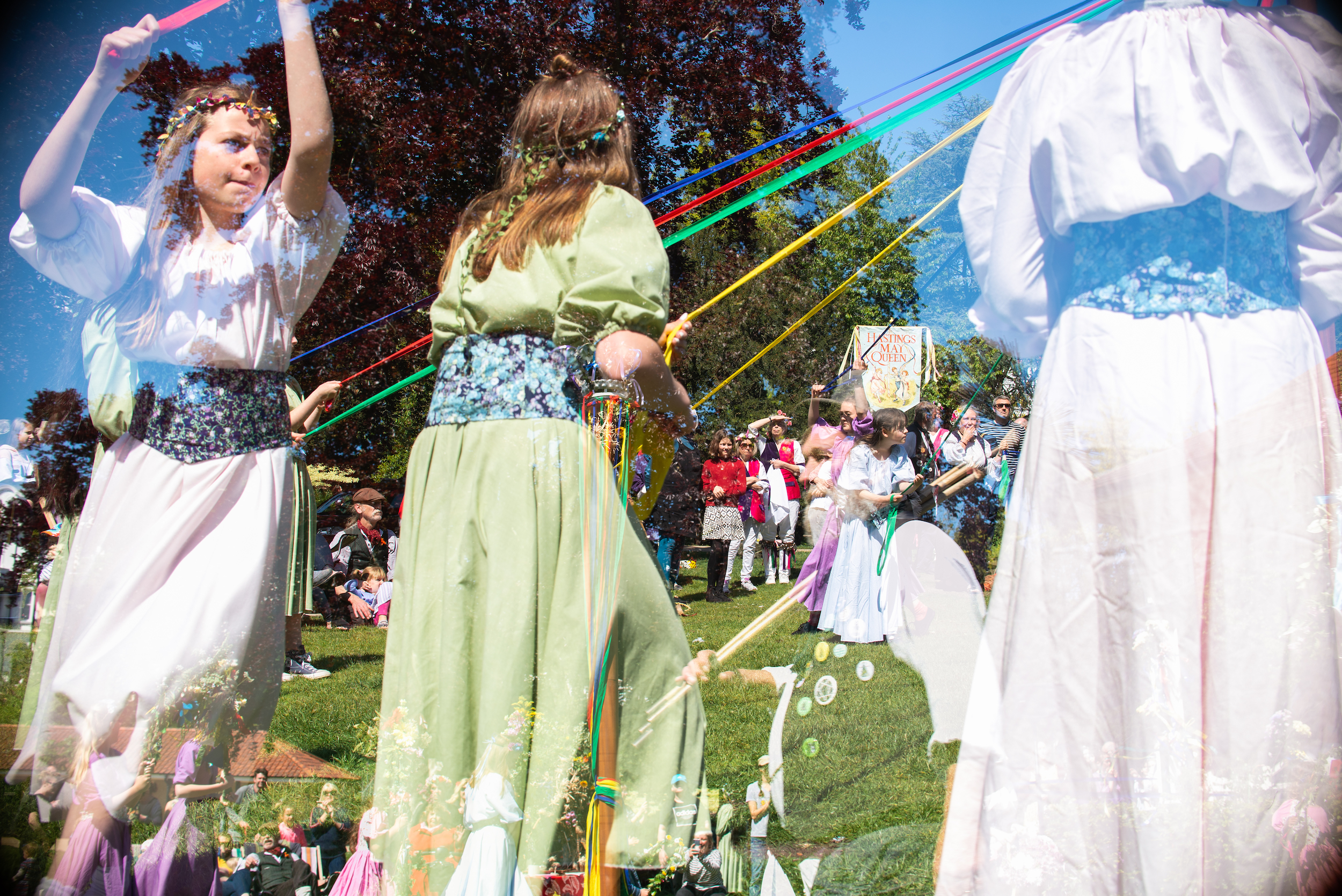 Double Exposure: May Pole Dancing