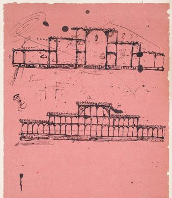 Sketch by Joseph Paxton on blotting paper
