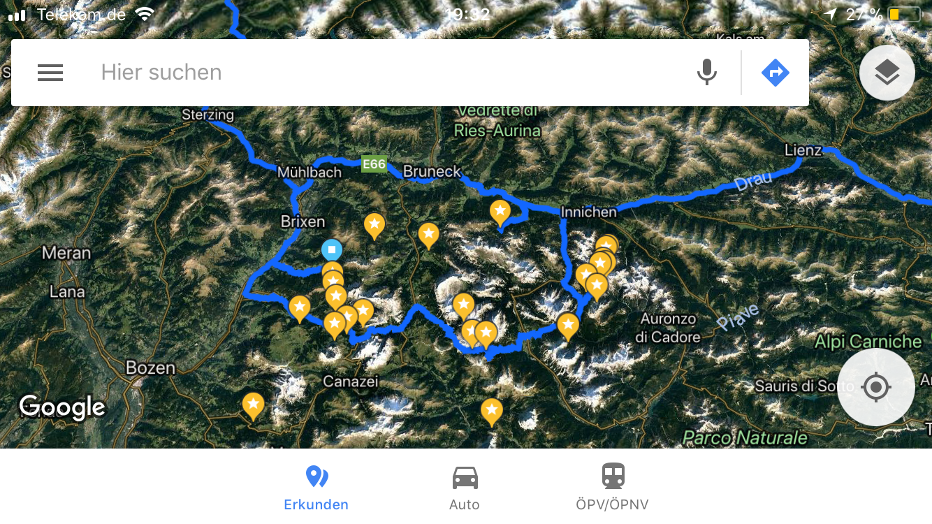 This is how my google map looked in the Dolomite area for my tour in September 2017. Every star features a point of interest. The blue line shows our driving route.