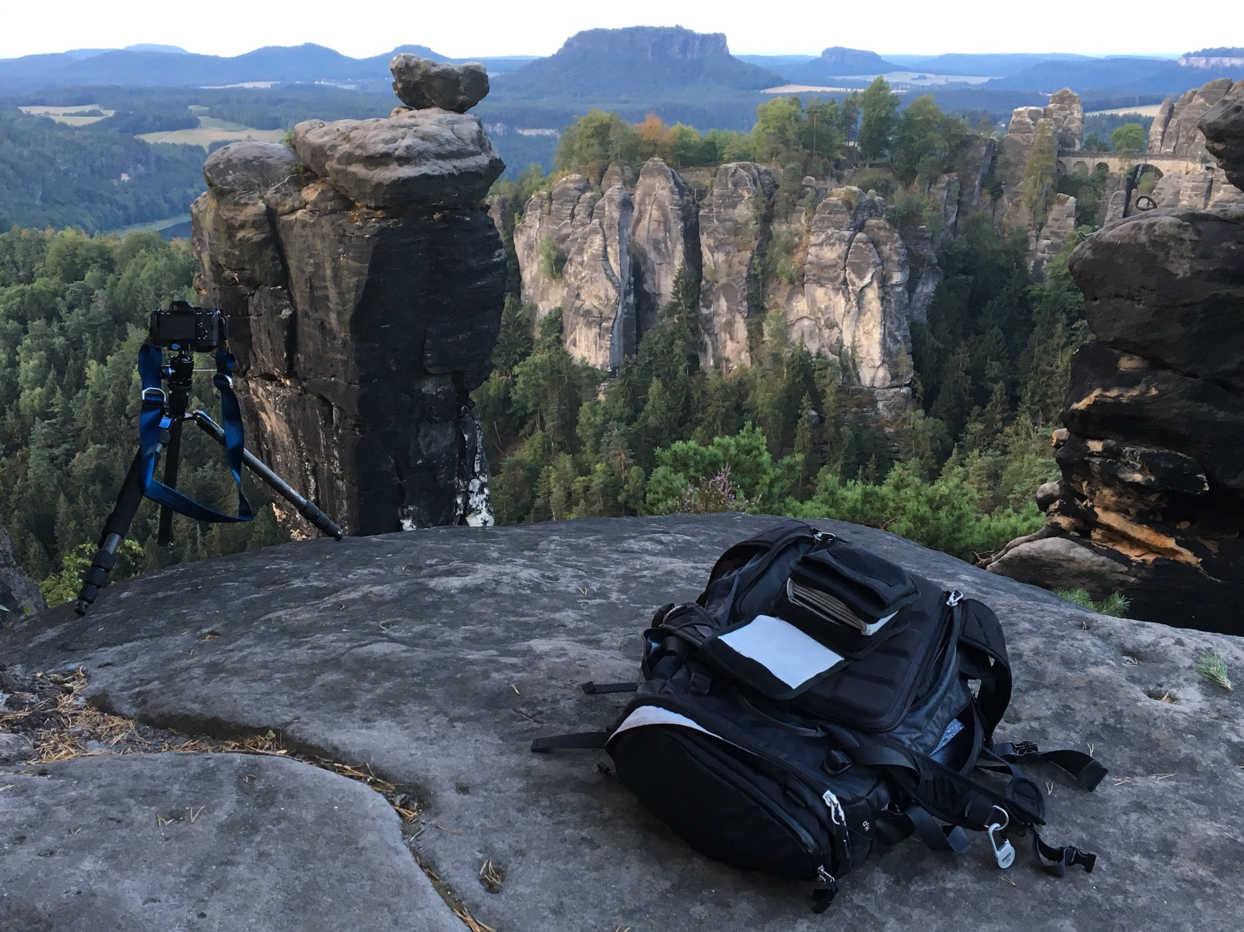 on set at Elbsandsteingebirge
