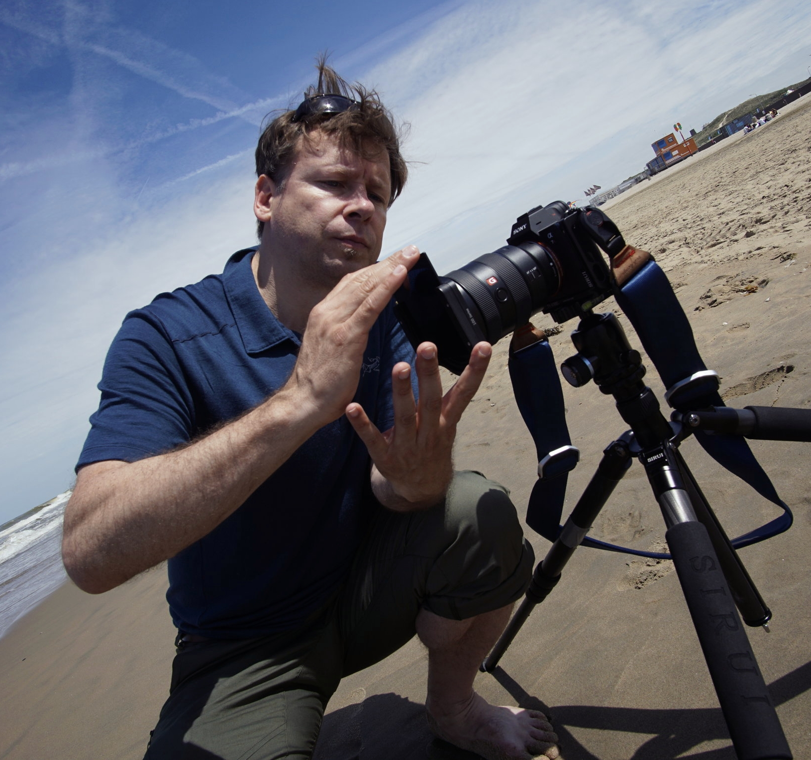 working with Haida filters at the beach of Scheveningen, Netherlands