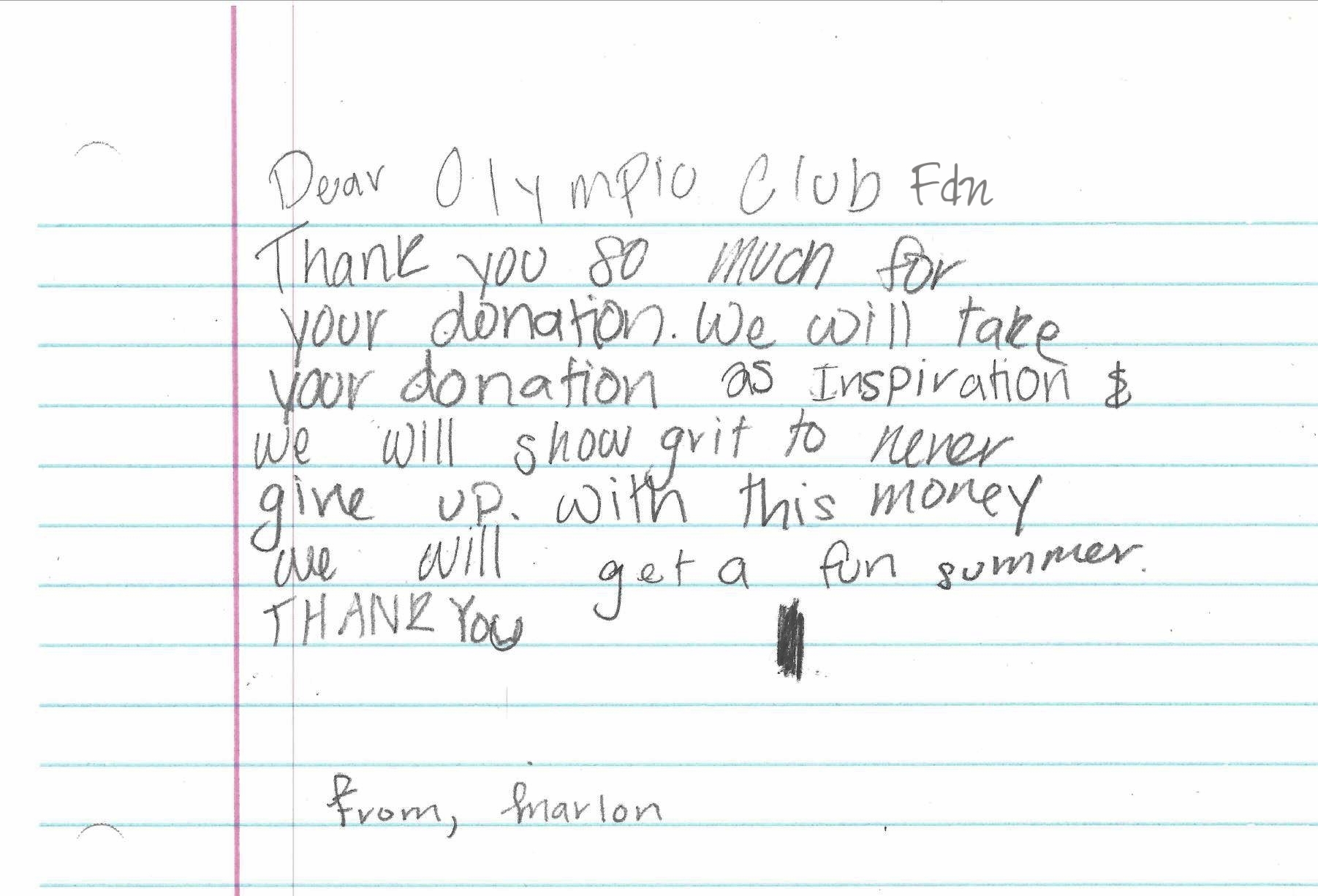 Thank you note from elementary school participant of grant recipient, Collective Impact, which is an after-school program in San Francisco's Western Addition.