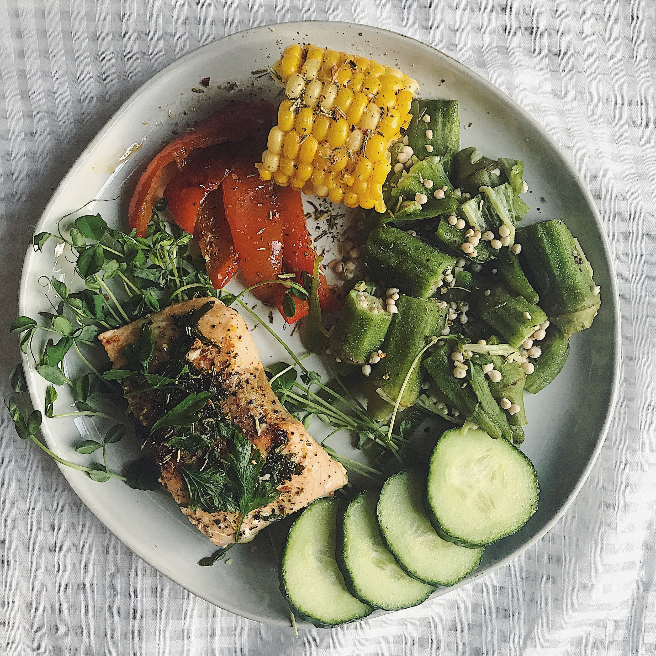 Foods to add in :Quinoa, corn, asparagus, red bell peppers, brussels sprouts, endive, okra, spinach, coconut, raspberries, strawberries, lentils, almonds and pistachios, lamb, salmon, tuna, dark chocolate (yes), coffee, turmeric - (Refer to Woman Code for more!)