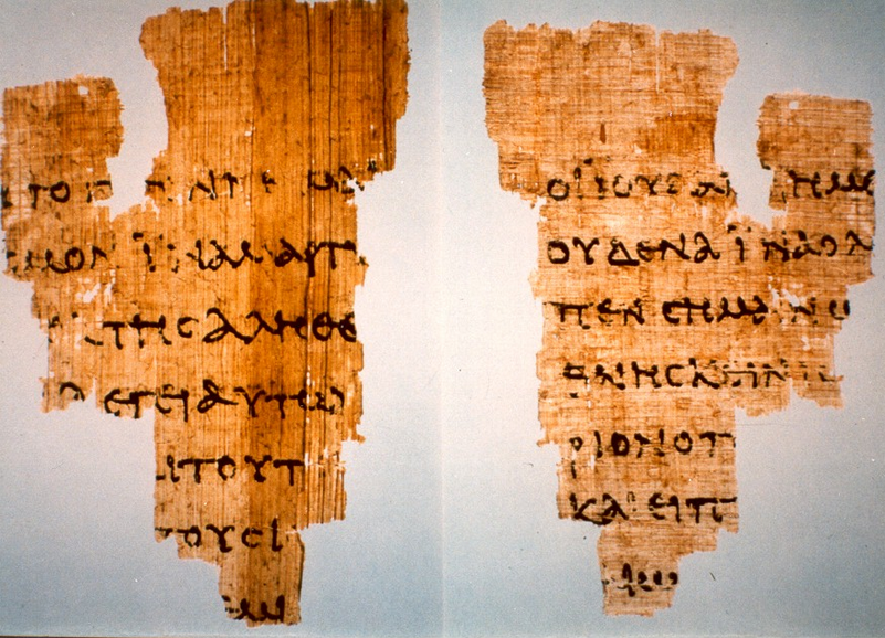 Manuscript P52 (John Rylands 457), remains our oldest extant evidence for the biblical New Testament. This fragment measures 3.5 by 2.5 inches, containing writing on both sides and is dated to bet ween 125-175 AD/CE.