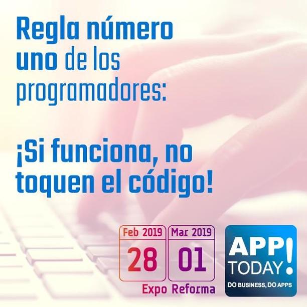 Asiste el 28 de Febrero y el 1o de Marzo a #AppTodayMx para aprender más sobre las herramientas de programación que facilitarán tu vida! Visítanos en www.apptodaymx.com