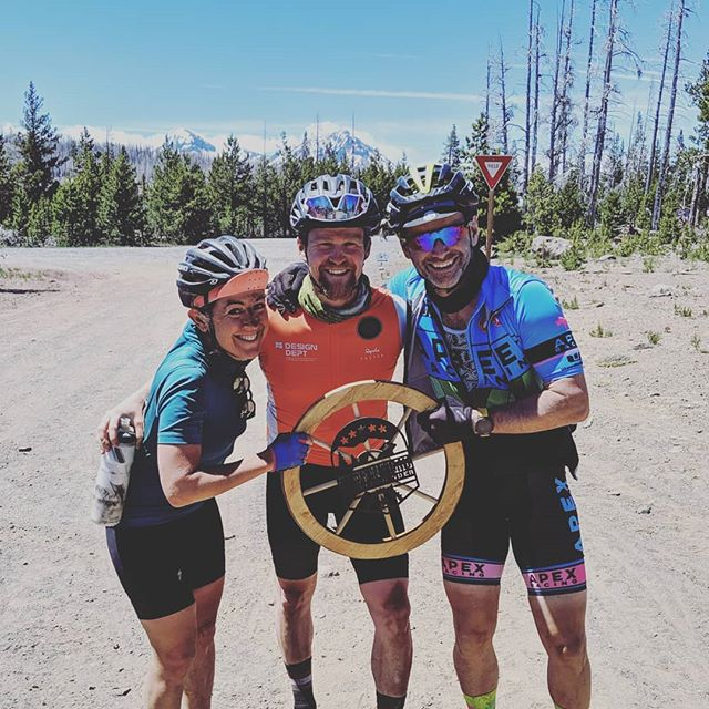 We did the thing! Finish line at the @oregontrail_gravelgrinder - miles of hard earned smiles. The sequence went something like: 1. Wagon roads to sand and lava rocks and then gravel speed 2. Climbing into freezing rain and then crazy speed on dirt then a breathtaking paved descent into camp and a creek swim 3. Huge vistas on massive climbs to an amazingly fun wagon road, then jackhammer washboards and a Sandy finish 4. Sand. All colors, all textures, with every kind of sharp rocks. 5. A beautiful little bit of everything into a huge climb through snow and a fast braap with snow to the finish. Amazing event, incredible rides, and fantastic people.