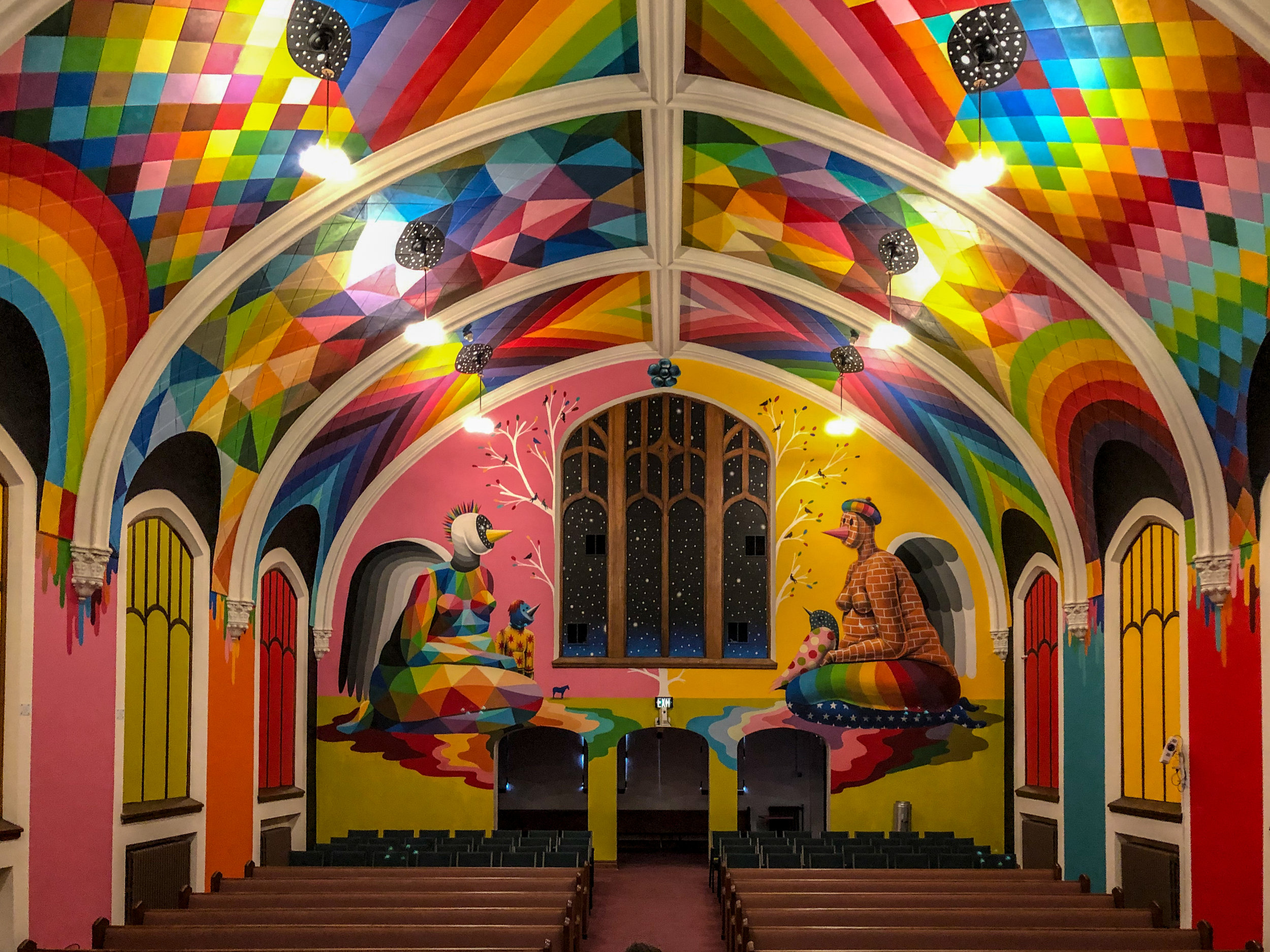 Front wall of the interior of the Cannabis Church