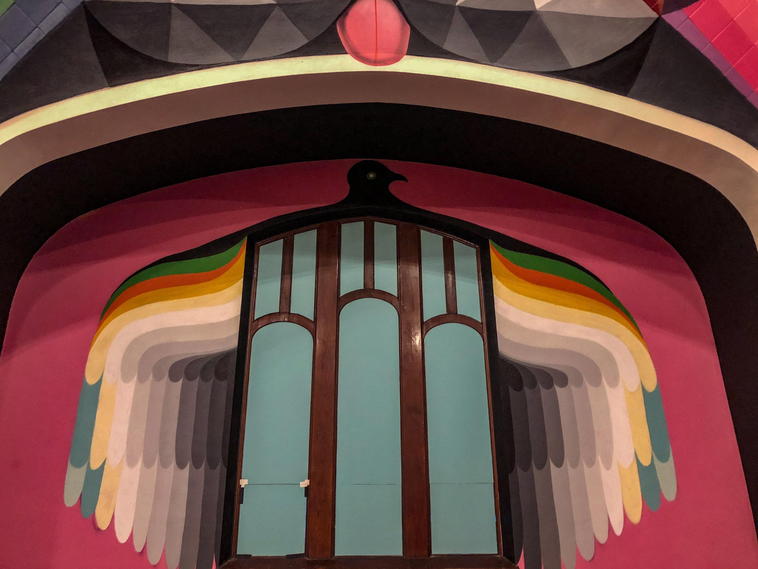 Okuda San Miguels grayscale artwork above the soundboard