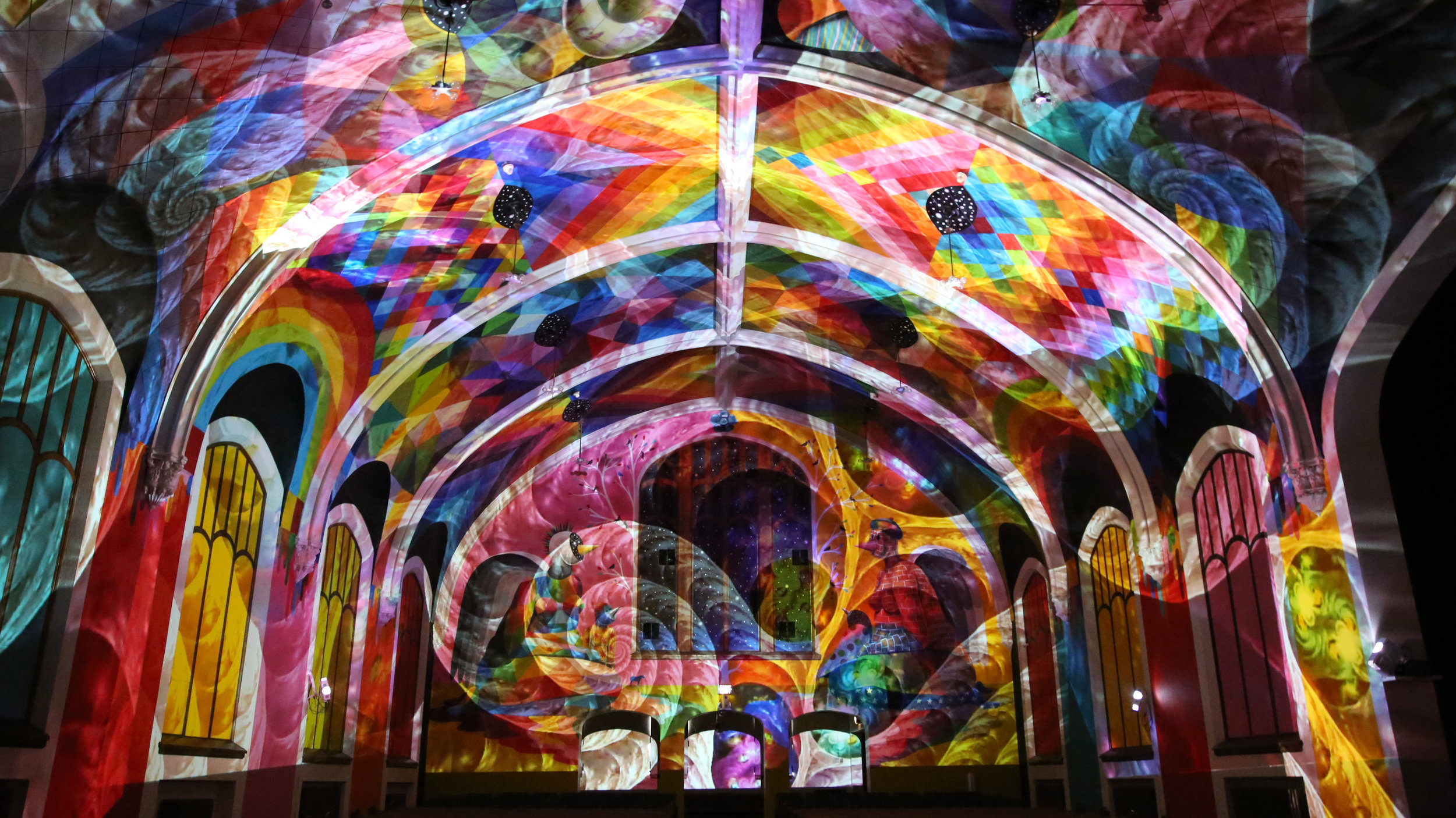 Light show image courtesy of the International Church of Cannabis