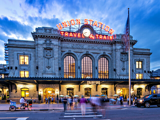 Denver's Union Station at dusk
