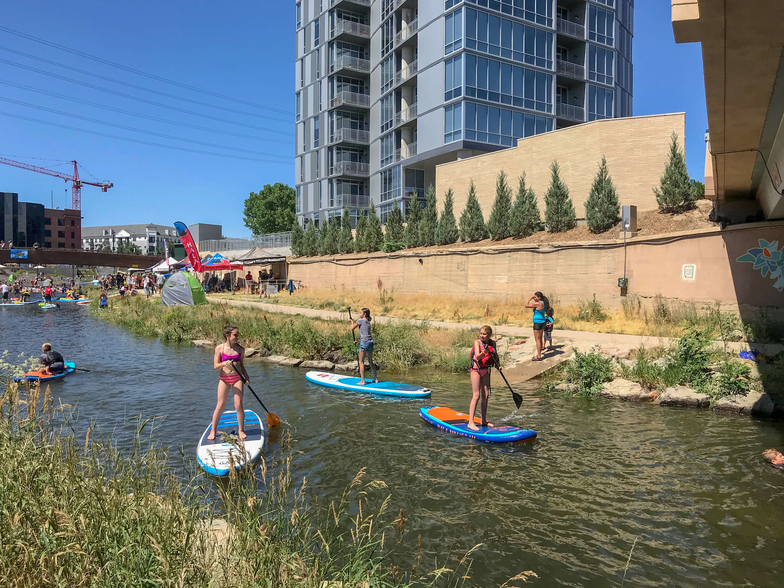Stand up paddle boarding at Confluence Park