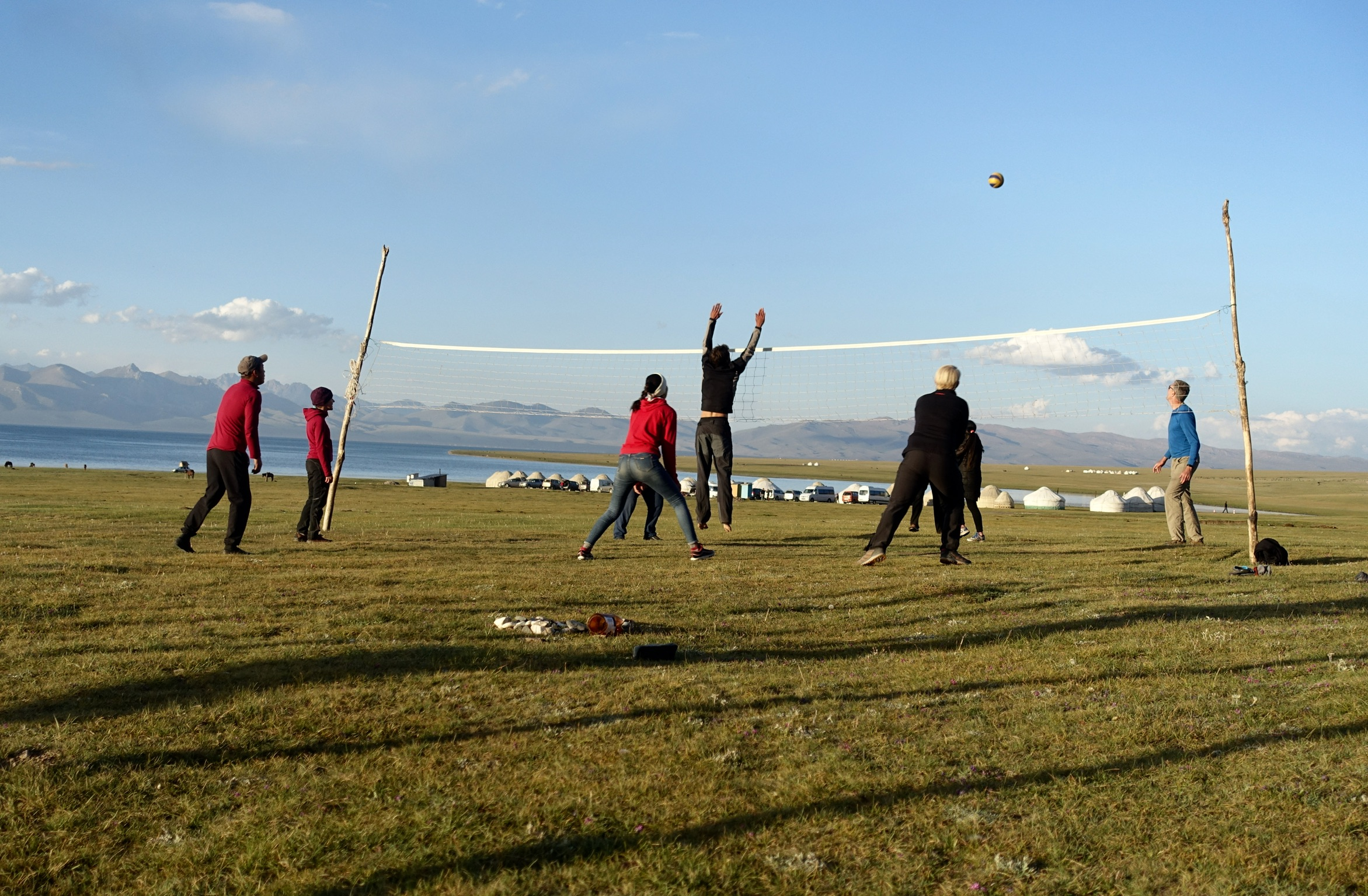 Volleyball game at Song Kul Lake