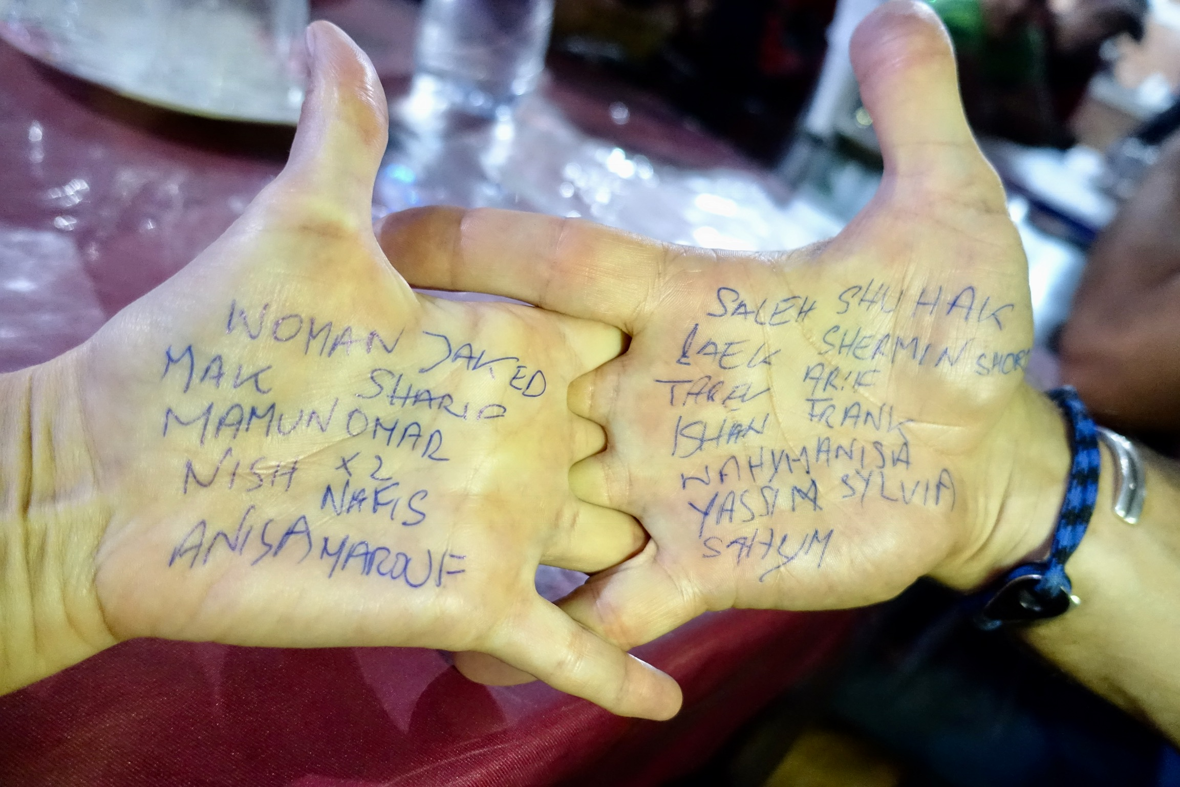 we wrote some SCC names on our hands so we would not forget them