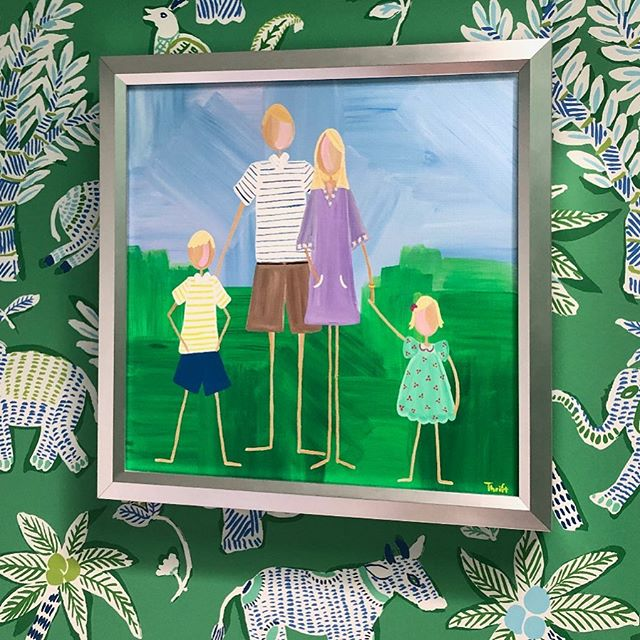 "WALLPAPER for the WIN! 💚  I just love when clients share pics of paintings ""at home."" Look at all that green fun!!!💚😍💚 #lptfamilyportraits"