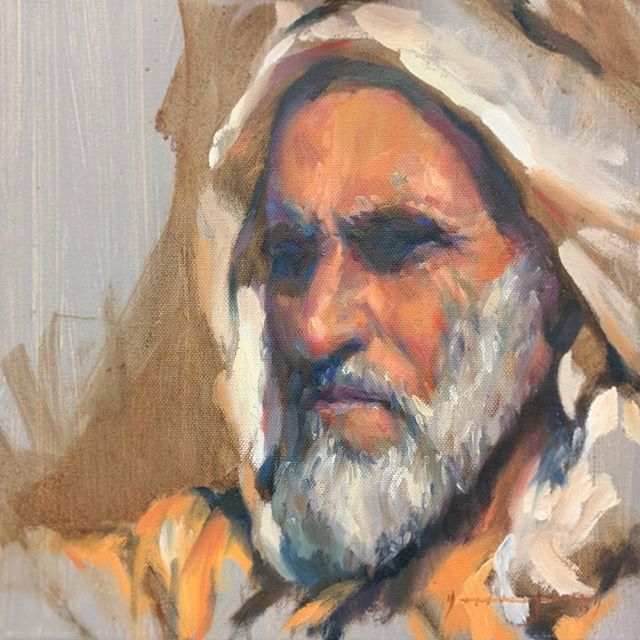 Today's study: 'Grandfather' oil on canvas 30x30cm. @mestariaofficial @dubaiculture @desertart @mestariaofficial @dubaiculture @alfahidineighbourhood @artforumuae #artuae #mikearnoldart #mestaria #alfahidihistoricalneighbourhood #dubaiart #dubai #uaeart #artuae #dubaiculture