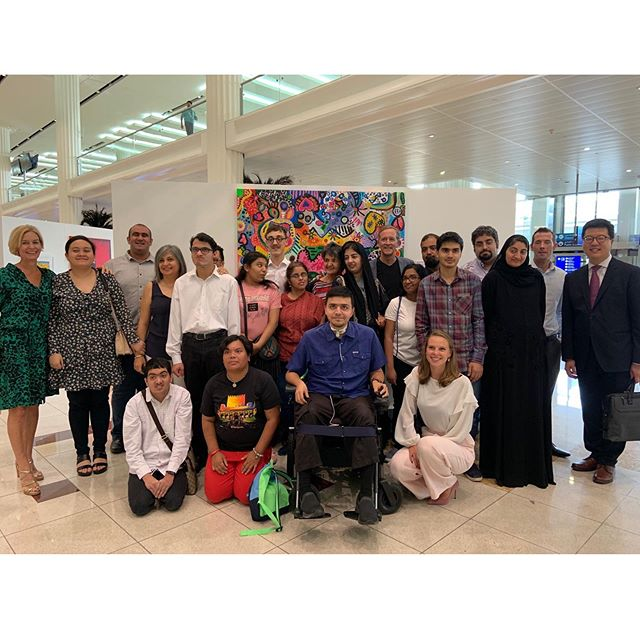 "Before flying through DXB Terminal 3 Concourse B, please visit the ""Connections"" Art exhibition.  A joint exhibition from the artist at Mawaheb from Beautiful People and the Indefinite Arts Centre in Canada. Running from the 10th till the 22nd of June. @dubaiairports  #mawahebfrombeautifulpeople  #indefiniteartscentre #peoplewithdetermination #mestaria  #canadianconsulate @mikearnoldart @mestariaofficial #alfahidihistoricalneighbourhood"
