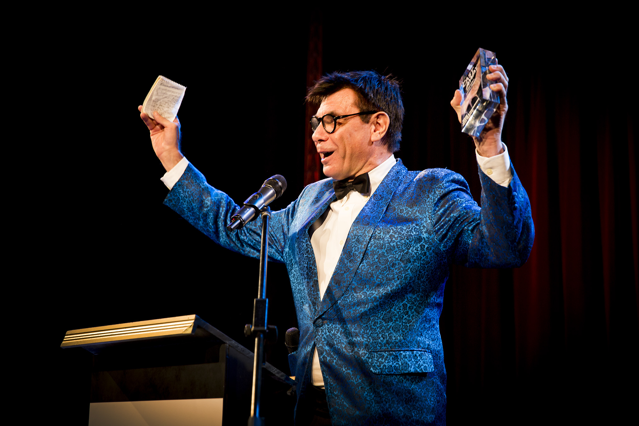 Maynard during the 2017 Australian Podcast Awards (AKA the 'Cast Away Awards')