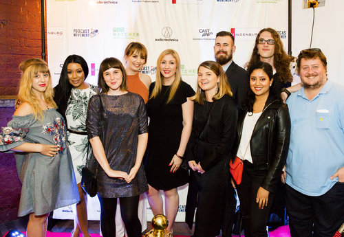 A group of AFTRS students in attendance at the 2017 'Cast Away' Australian Podcast Awards.