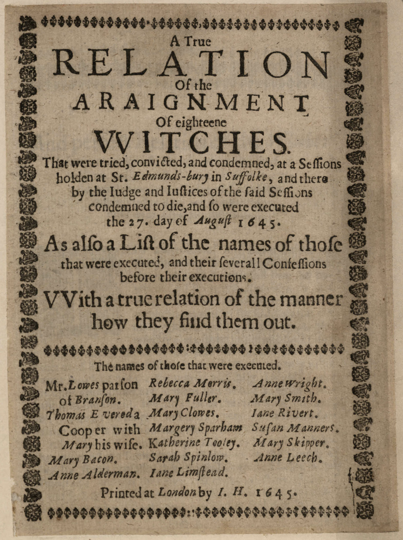 The Largest Single Witch Trial in England 1645