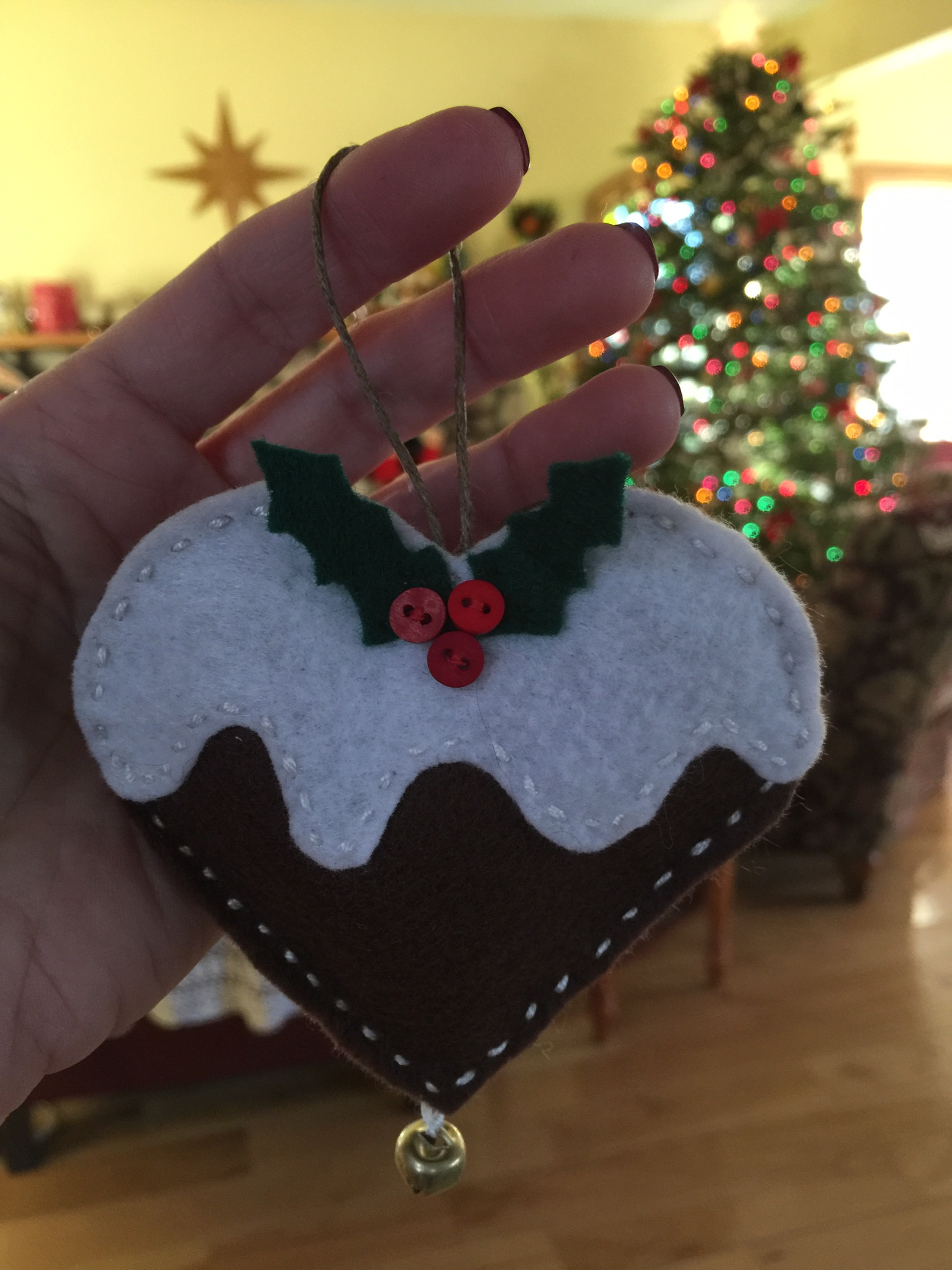 Gingerbread Holly Heart Ornament I made.