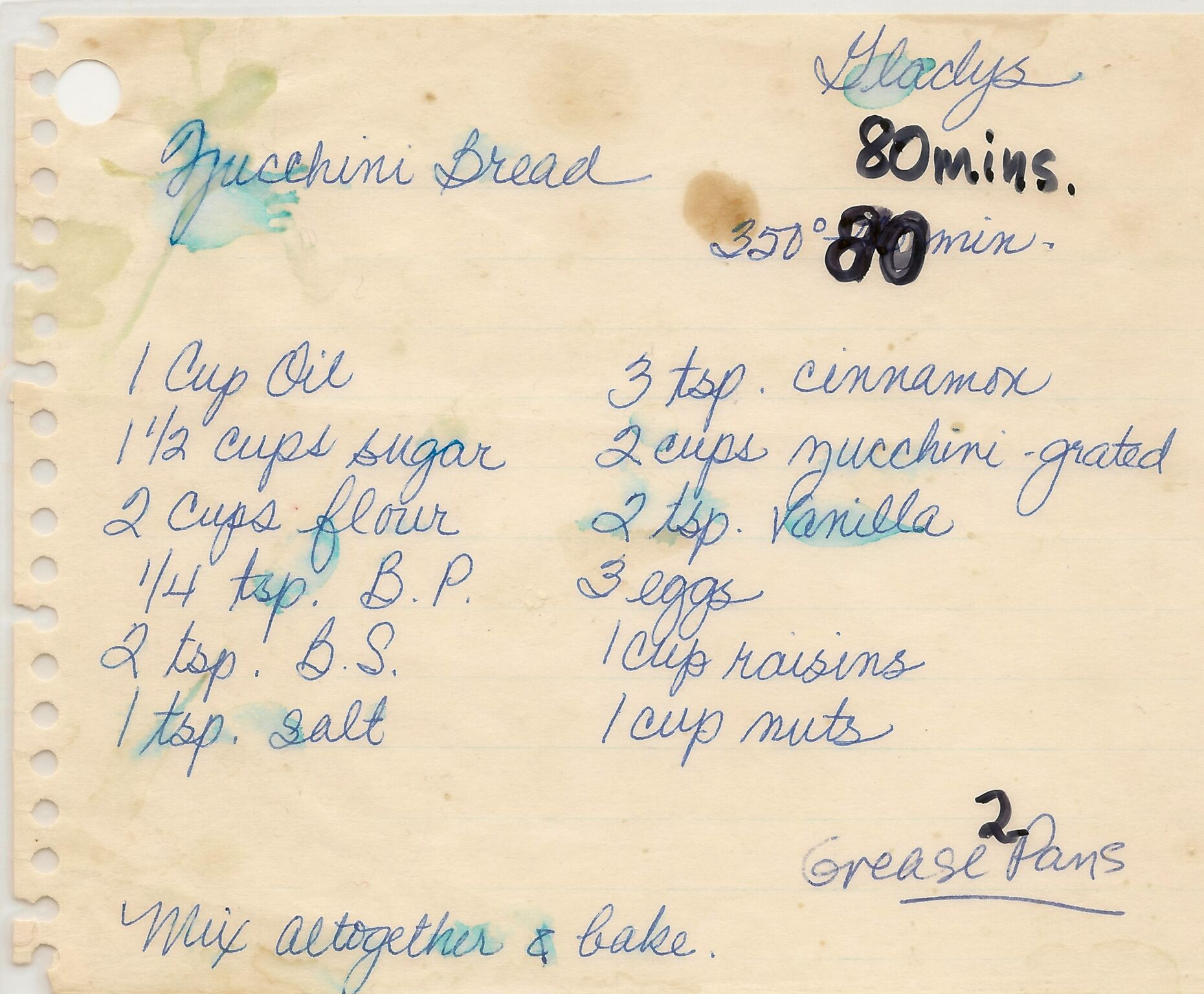 Aunty Gladys' Zucchini Bread