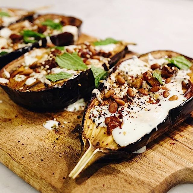 Tonight's main 🙌 Roasted and covered with loads of tahini, this aubergine recipe is one of our all time favourites. Click the link in our bio for some dinner inspo this week 😉