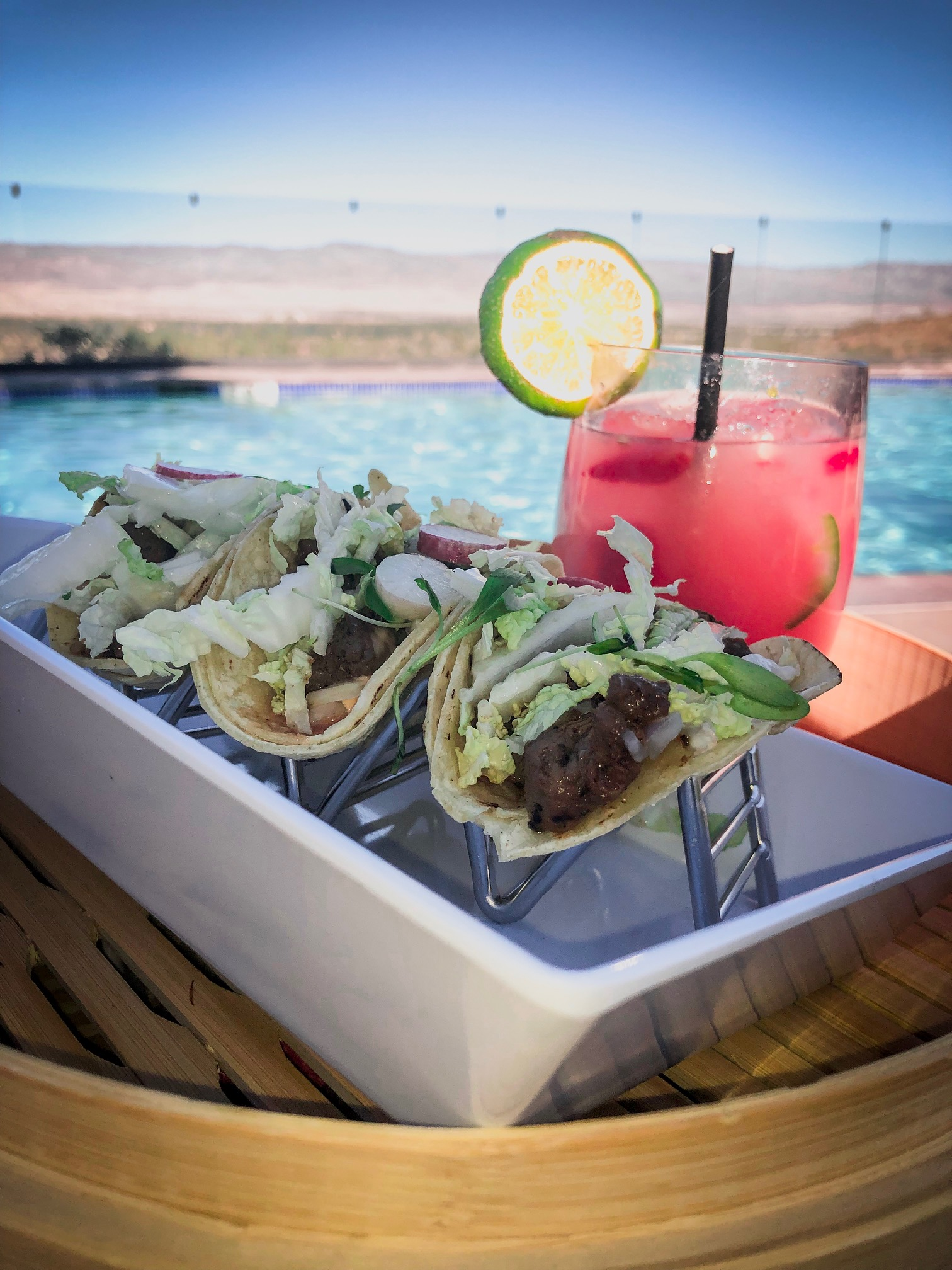 Poolside Carne Asada Tacos and Spicy Strawberry Margarita