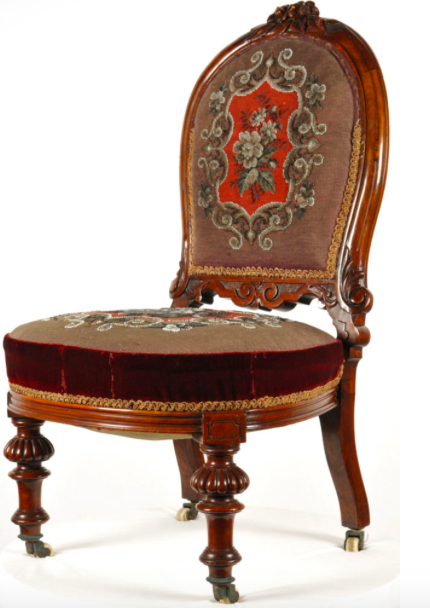 A victorian sprung upholstered chair, after conservation