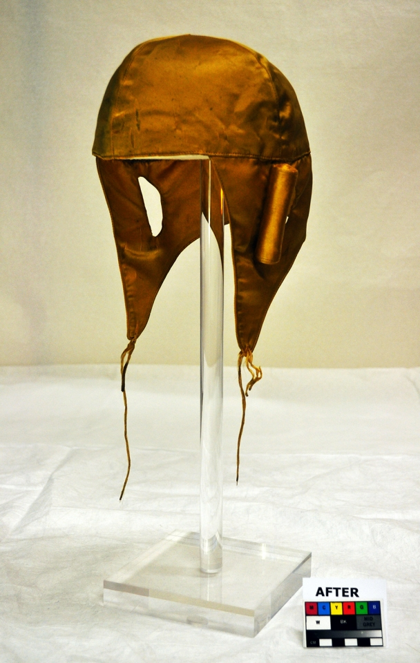 Hat, after treatment on display stand