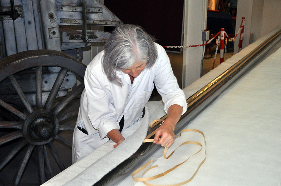 Kate Gill preparing one of the 8 metre long padded rollers