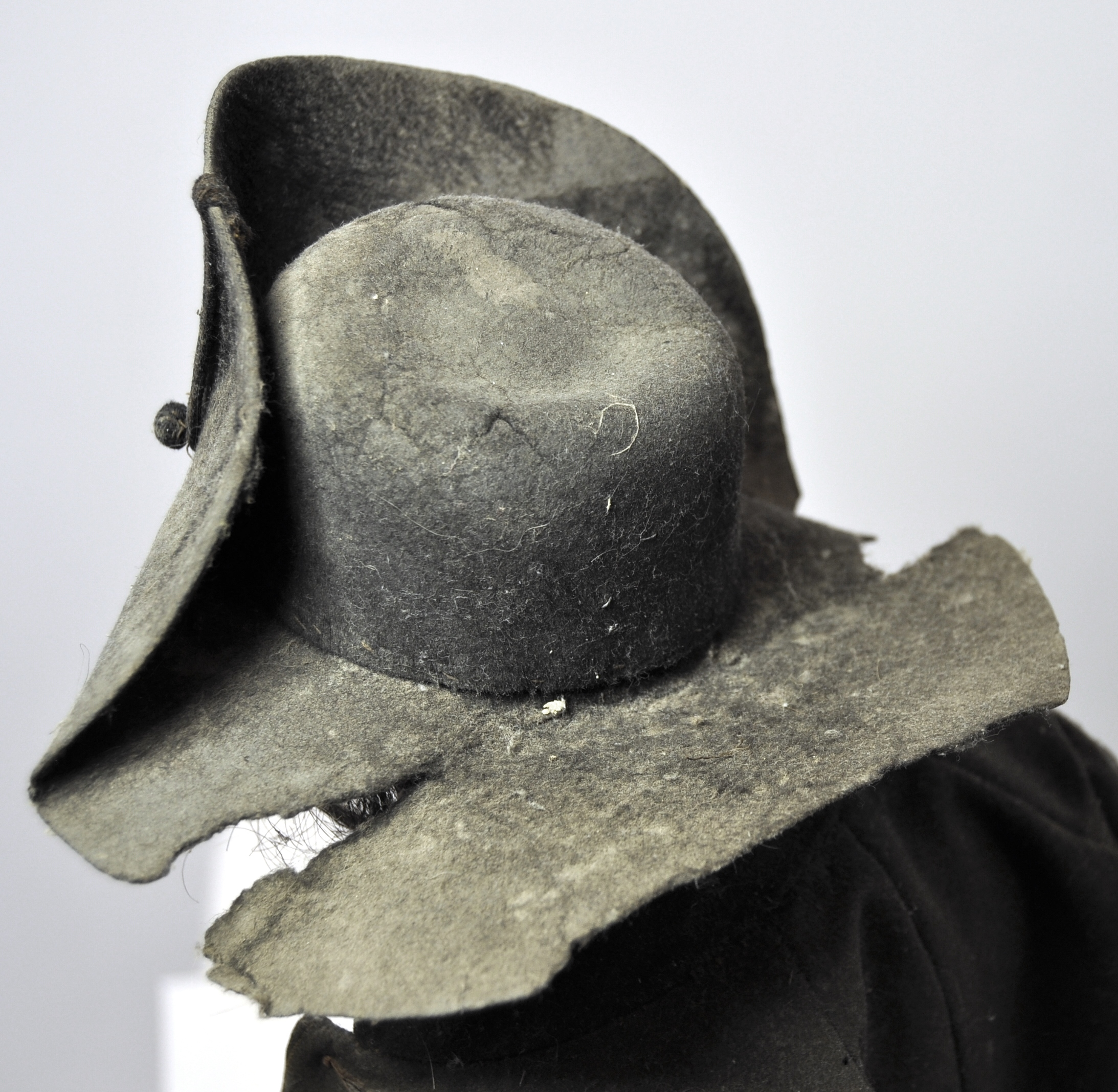 The wool felt bicorn hat, before conservation