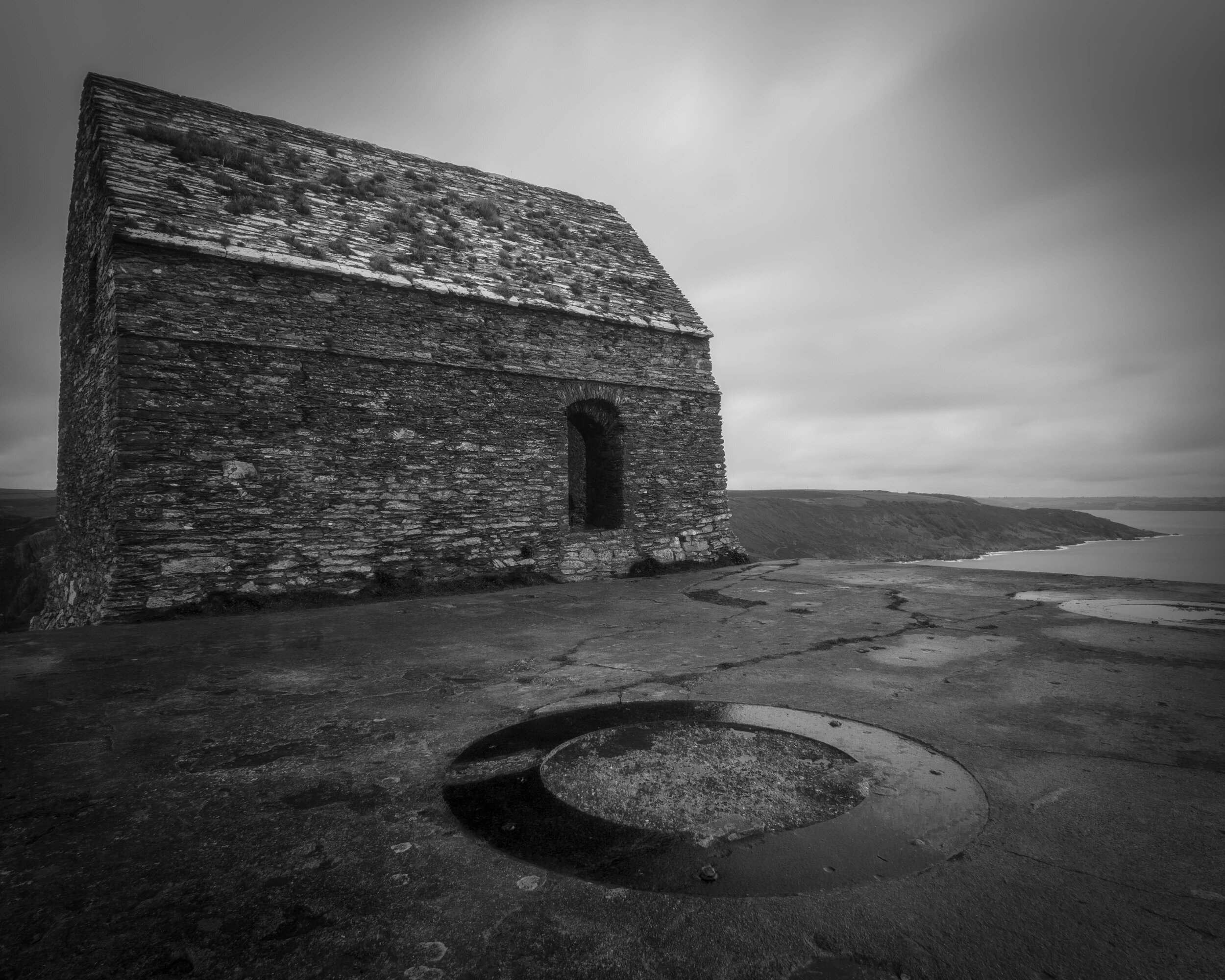 The chapel offers shots from behind back to the headland, not just leading up to